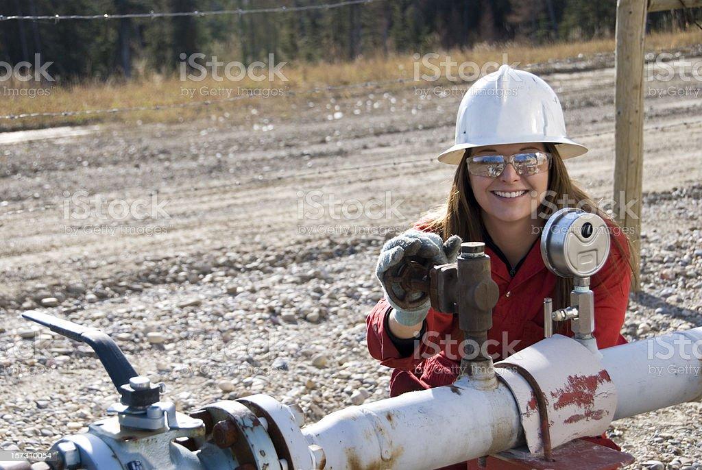 Female Oilfield Worker stock photo