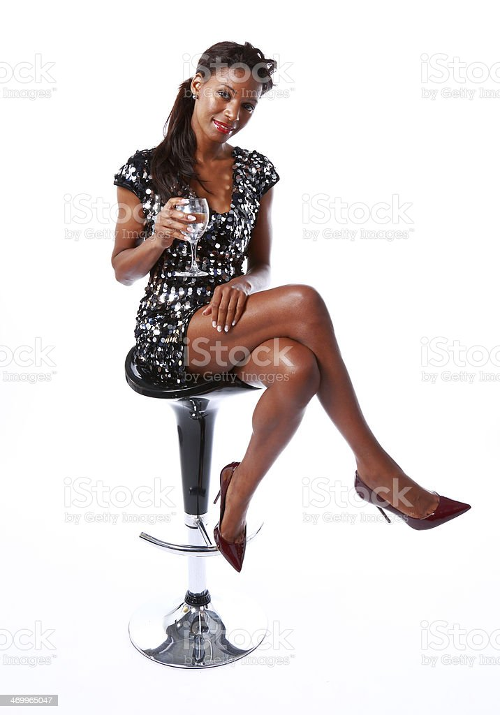 female on bar stool royalty-free stock photo