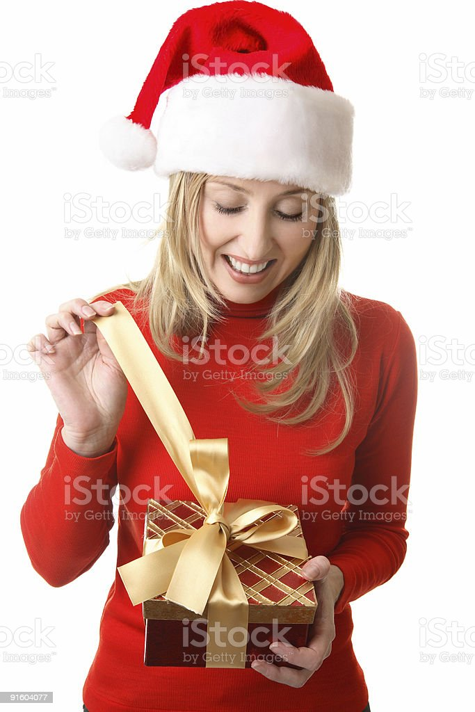 Female opening a present stock photo