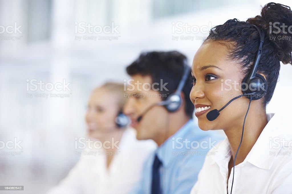 Female operator stock photo