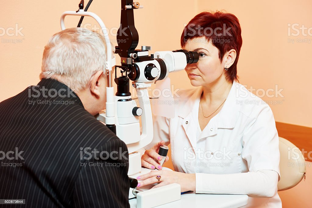 Female ophthalmologist or optometrist at work stock photo