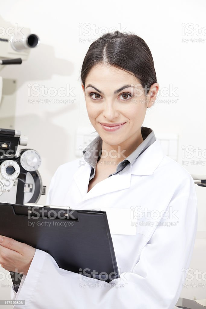 Female Optometrist in Clinic stock photo