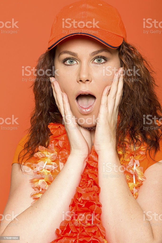 Female orange soccer fan royalty-free stock photo