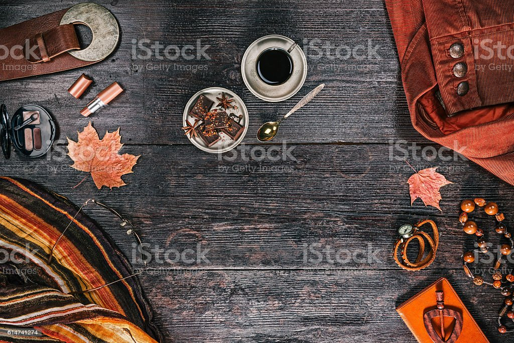 Female outfit with coffee and chocolate stock photo