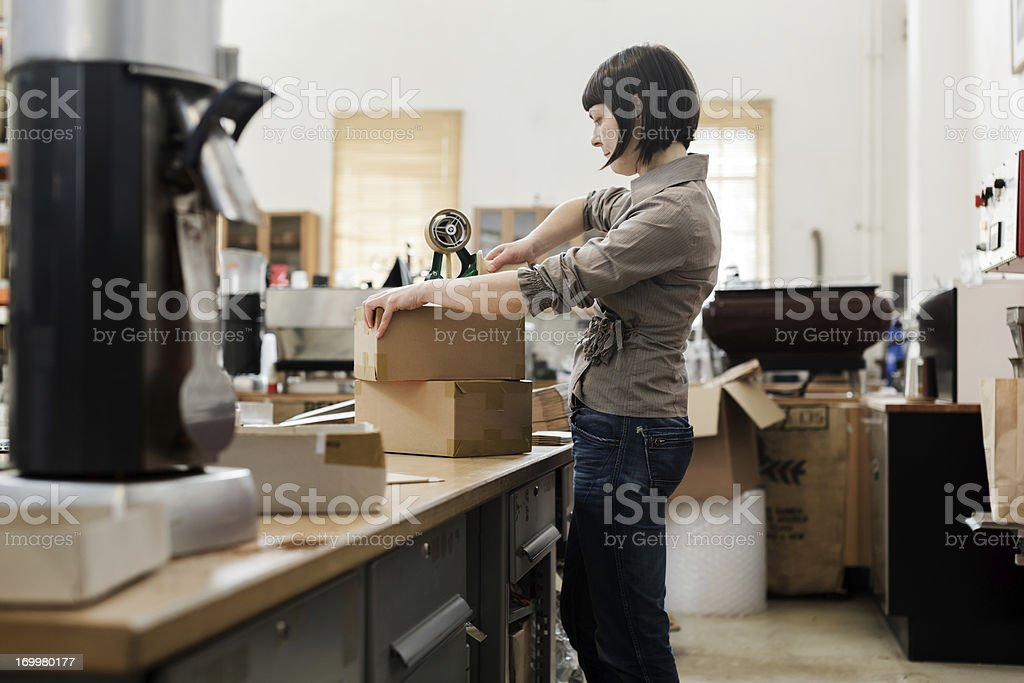 Female owner of a Coffee Roastery stock photo