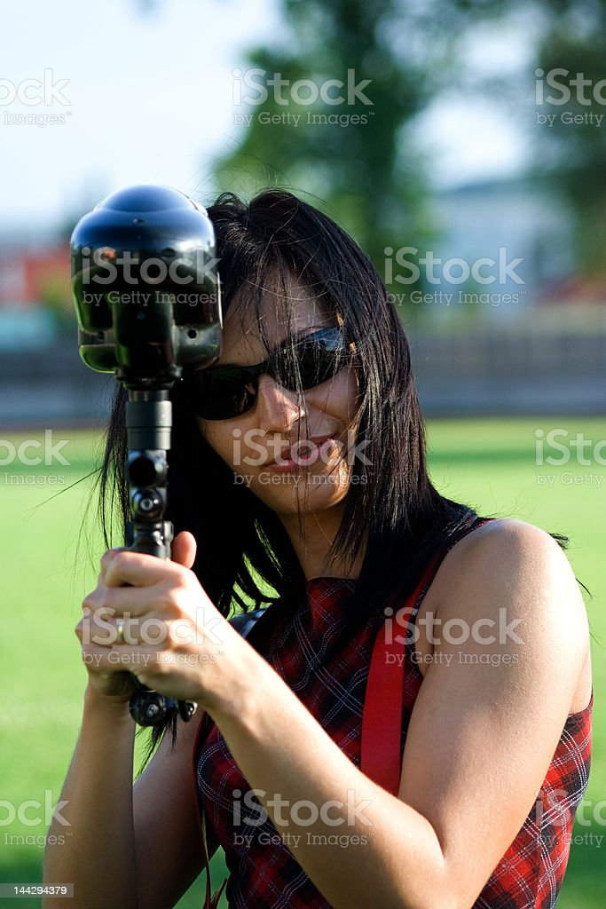Female paintball player royalty-free stock photo