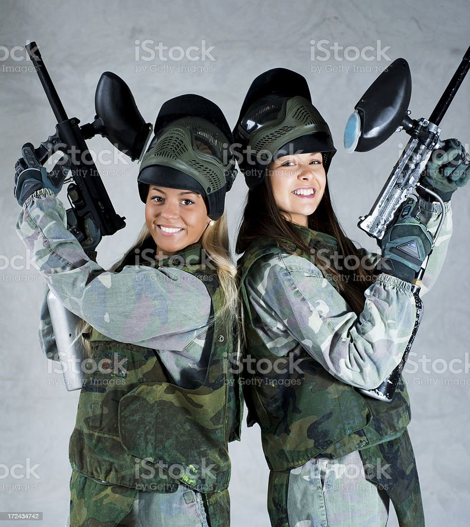 Female paintball team royalty-free stock photo