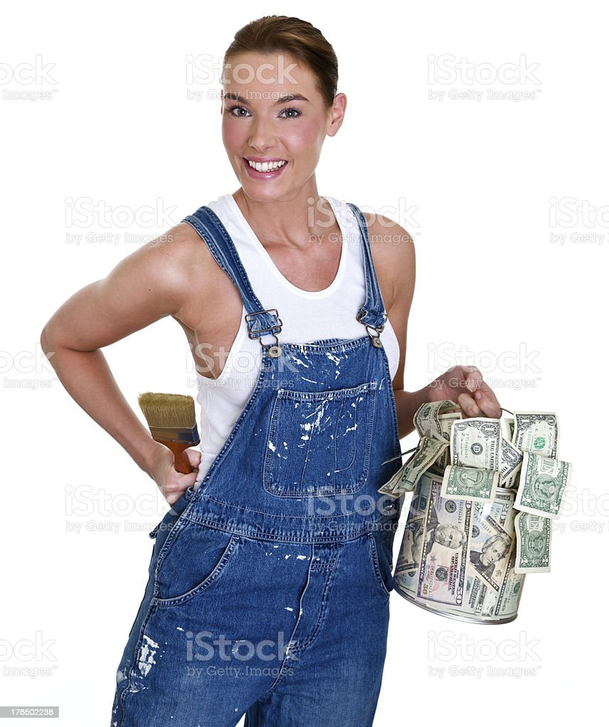 Female painter holding can of cash royalty-free stock photo