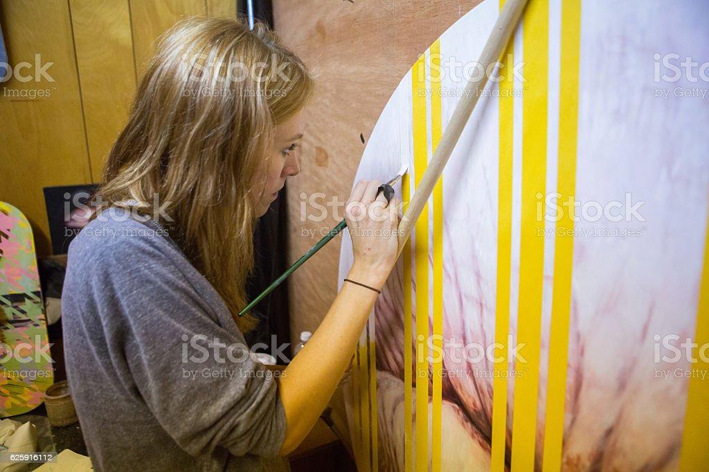 Female Painter in Studio stock photo