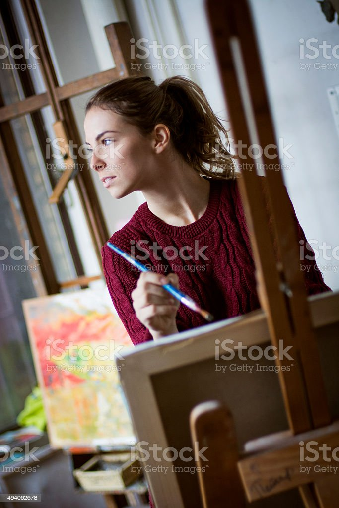 Female painter stock photo
