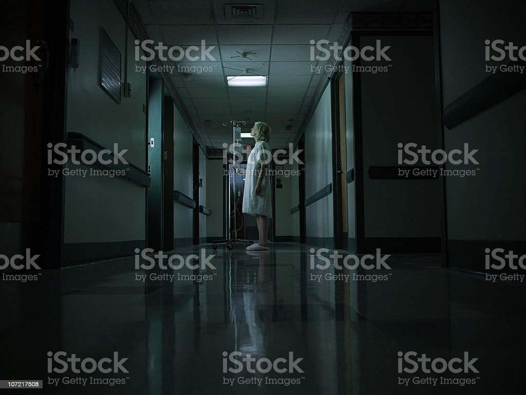 Female patient with intravenous drip royalty-free stock photo