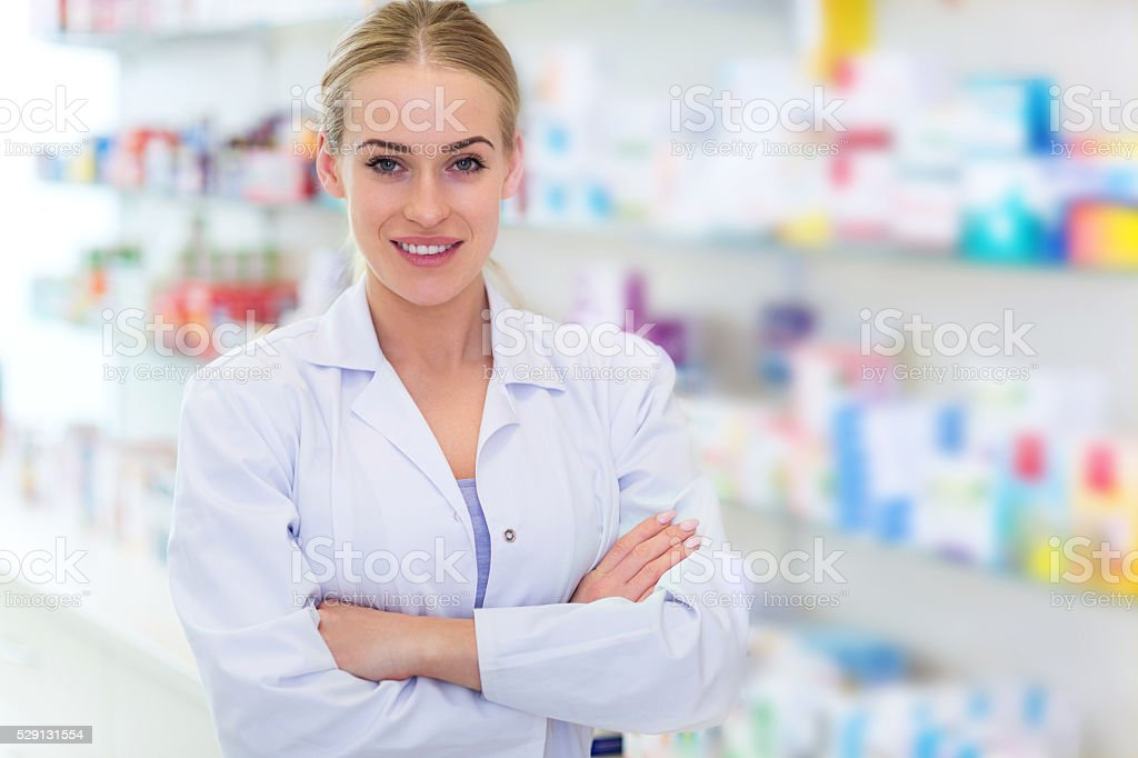 Female pharmacist stock photo