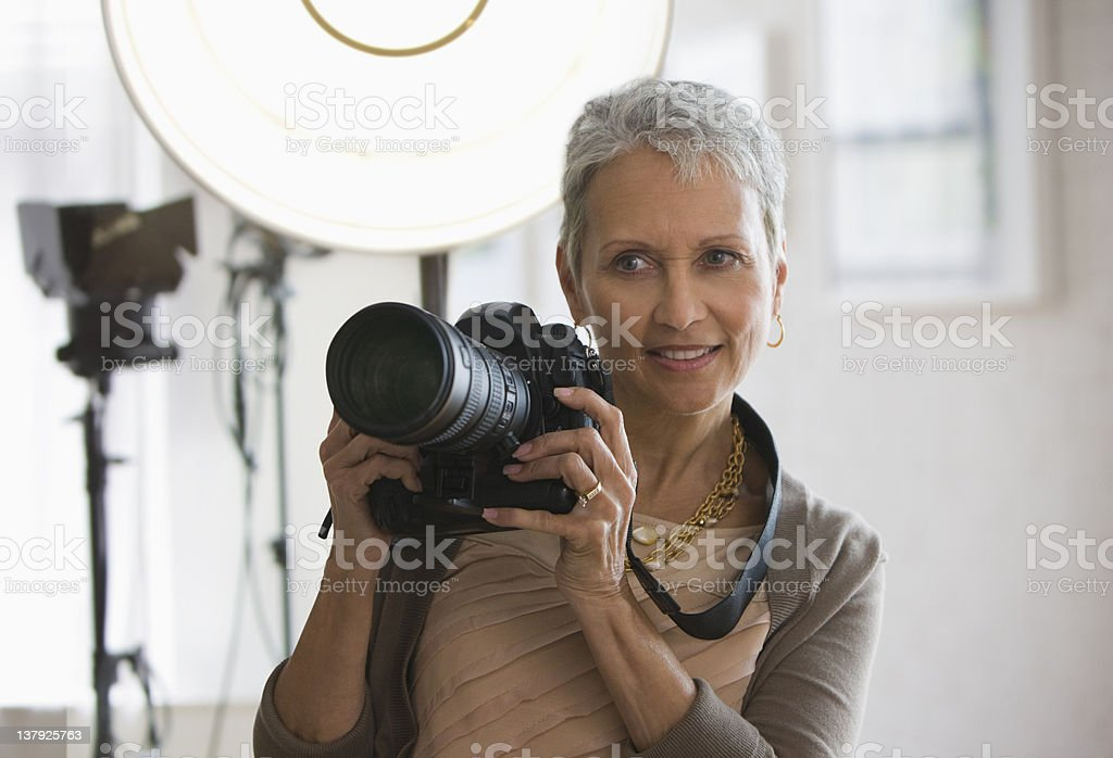 Female photographer stock photo