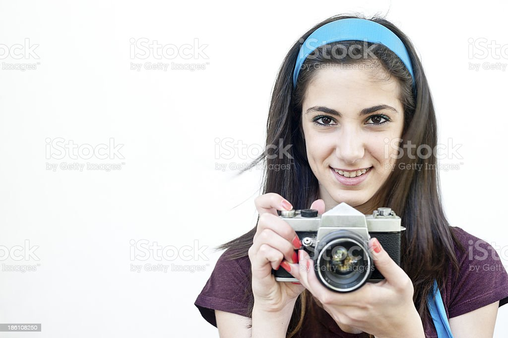 Female photographer taking photos royalty-free stock photo