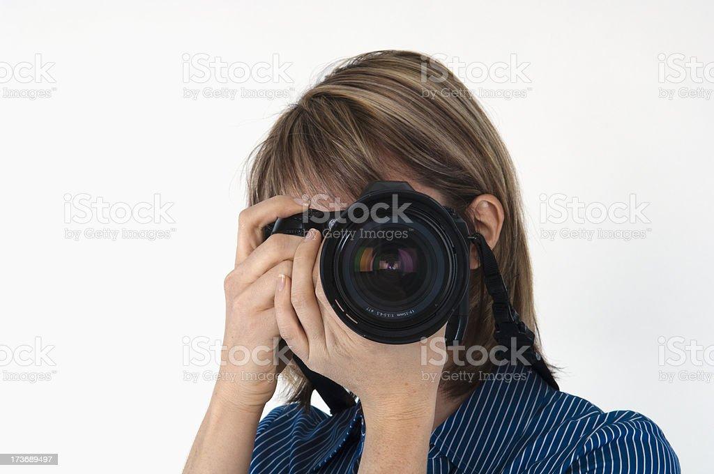 Female Photography Shooting YOU stock photo