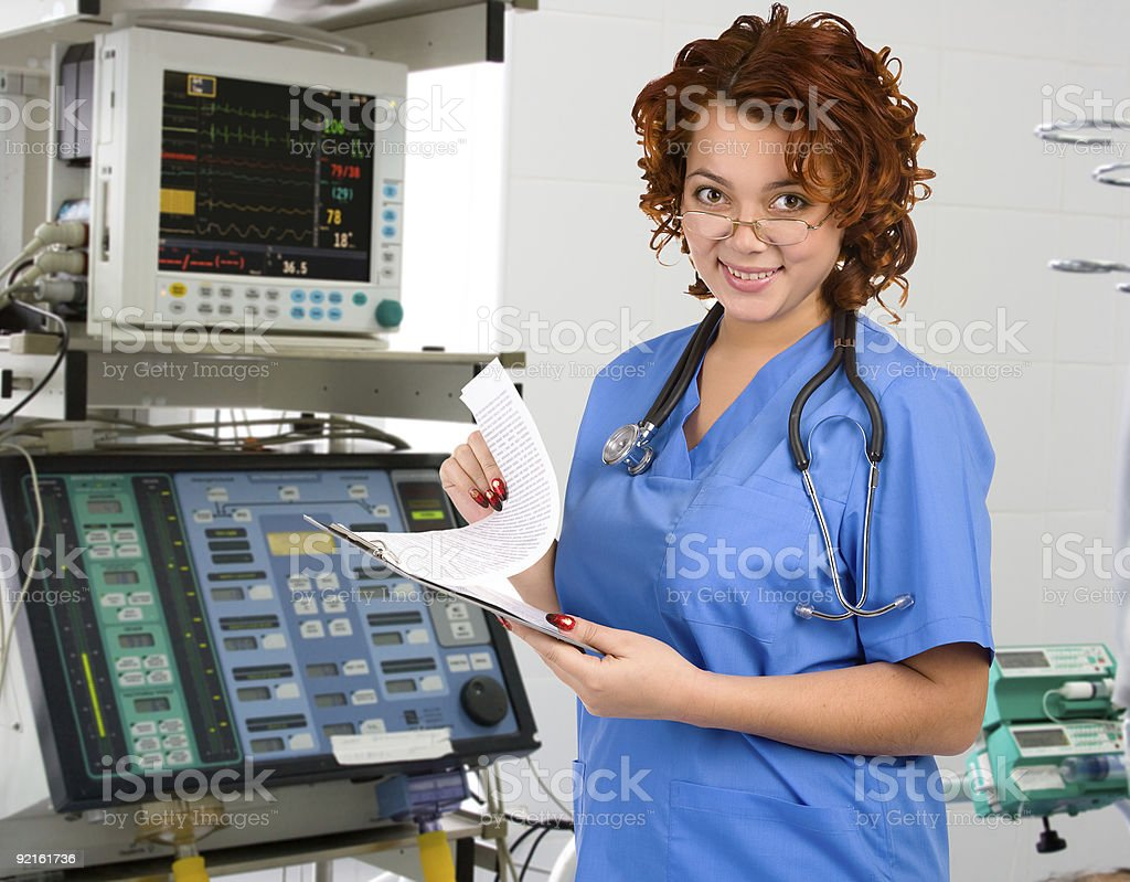 female physician in intensive care unit royalty-free stock photo