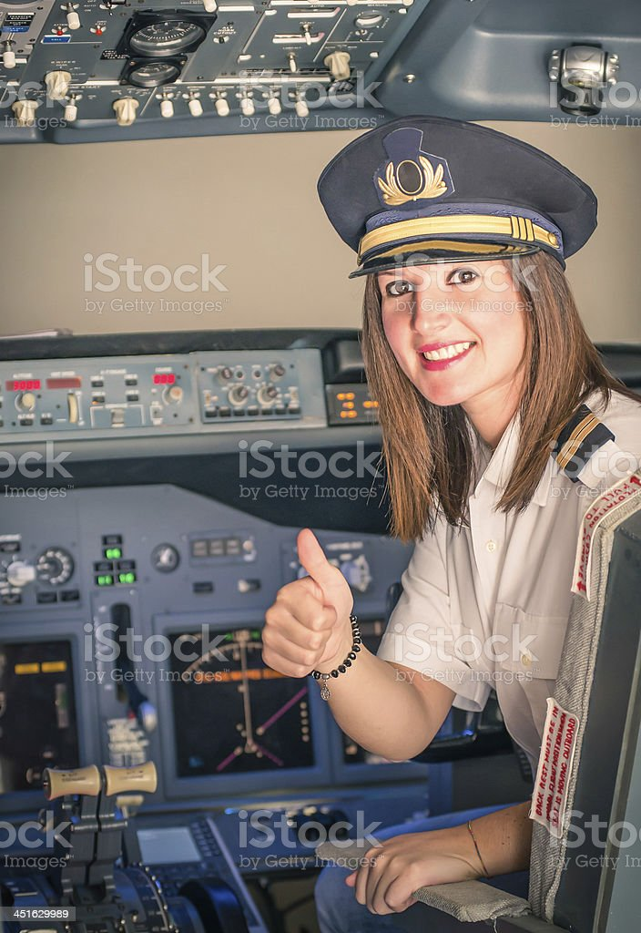 Female Pilot ready for Take Off stock photo