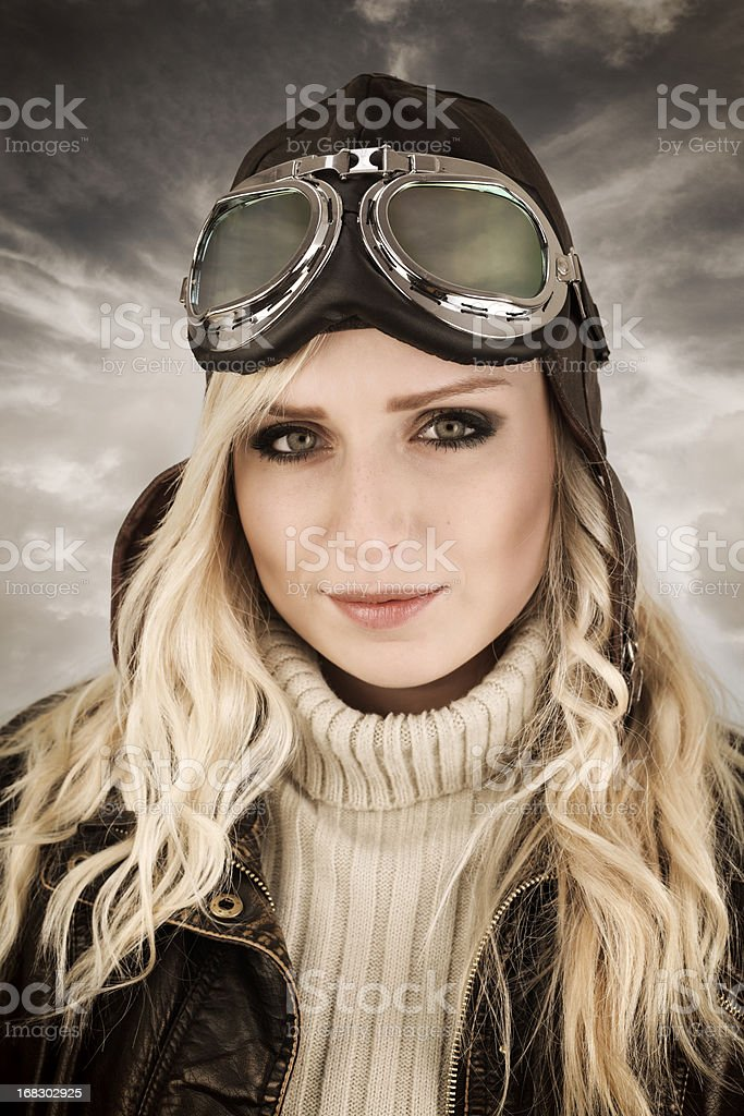 Female pilot retro portrait stock photo
