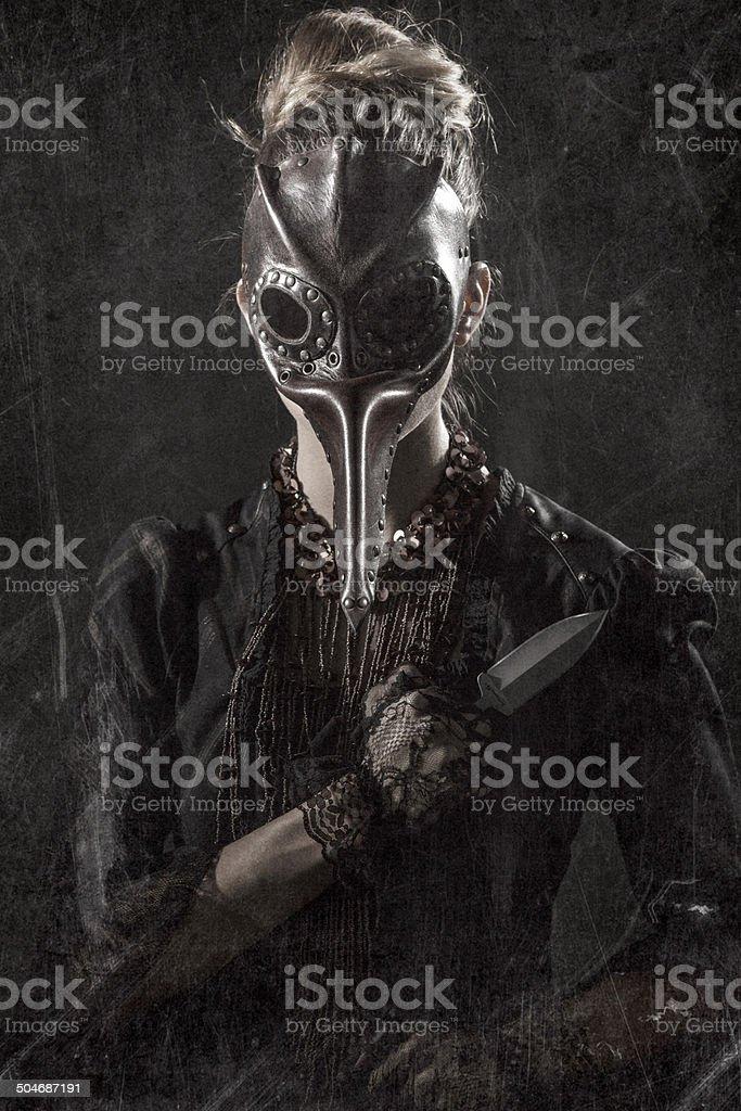 Female Plague Doctor Assassin stock photo