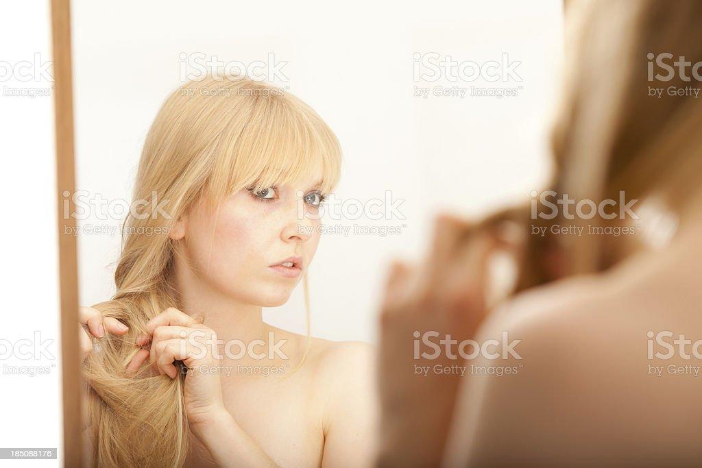 Female Plaiting Hair royalty-free stock photo