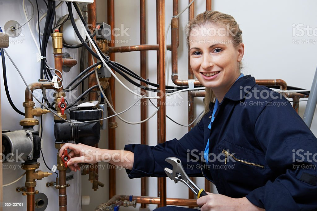 Female Plumber Working On Central Heating Boiler stock photo