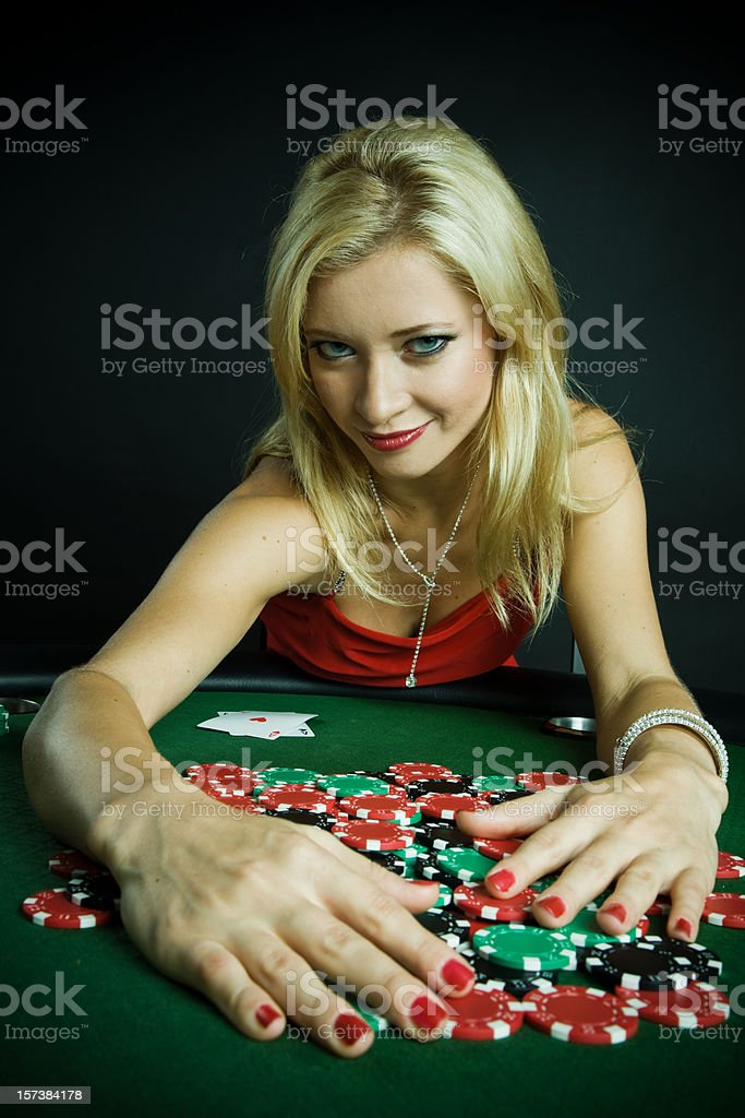 Female Poker player wins stock photo