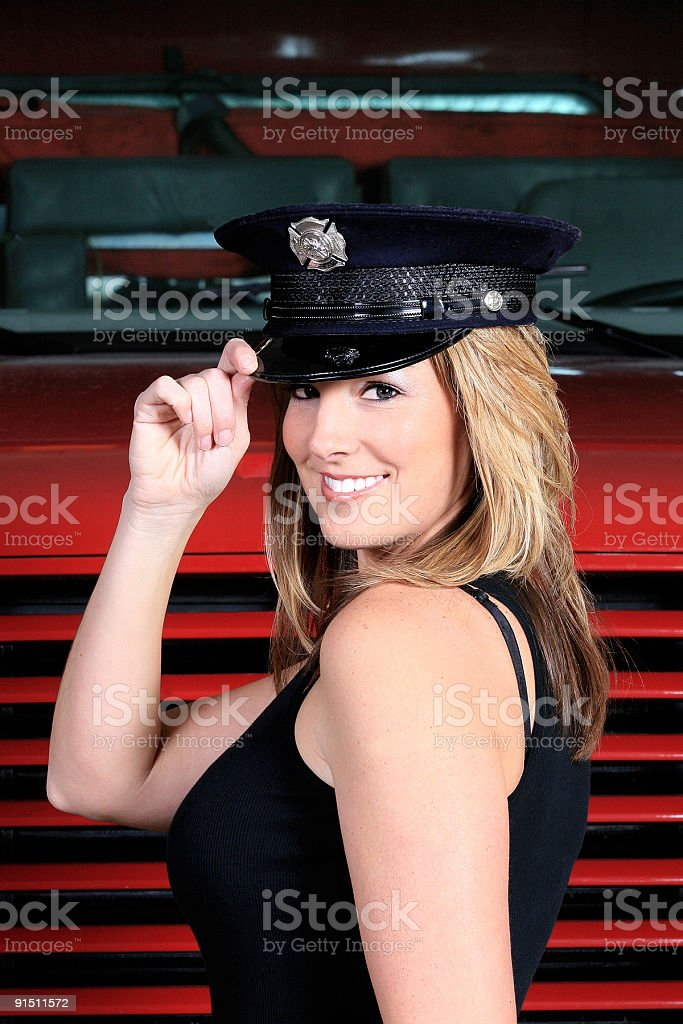 Female Police Officer/ Firefighter stock photo