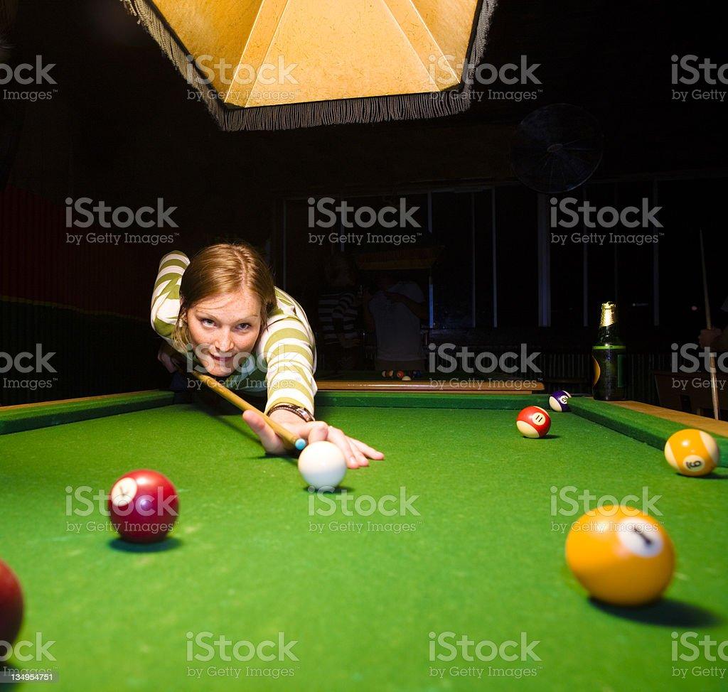 Female pool player stock photo