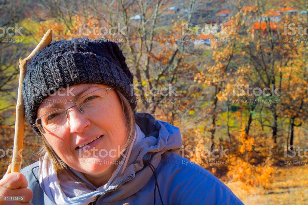 Female portrait in autumn royalty-free stock photo