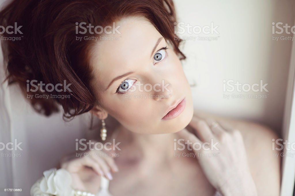 Female portrait of cute lady indoors stock photo