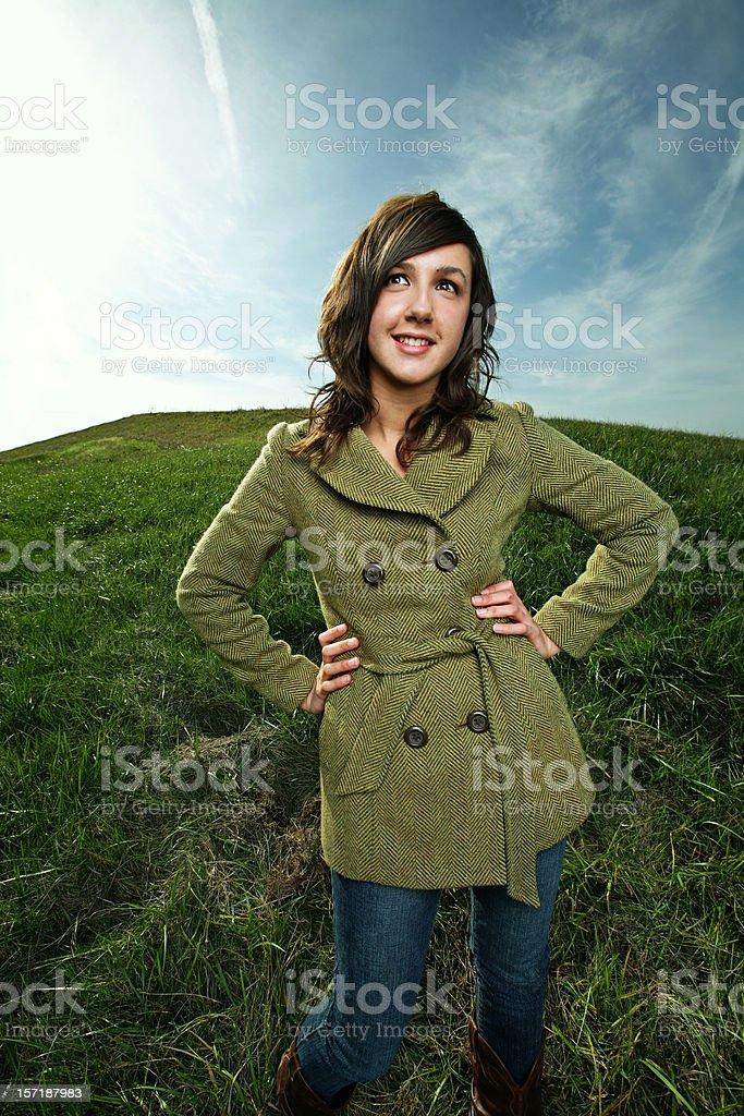 Female Posing in Field royalty-free stock photo
