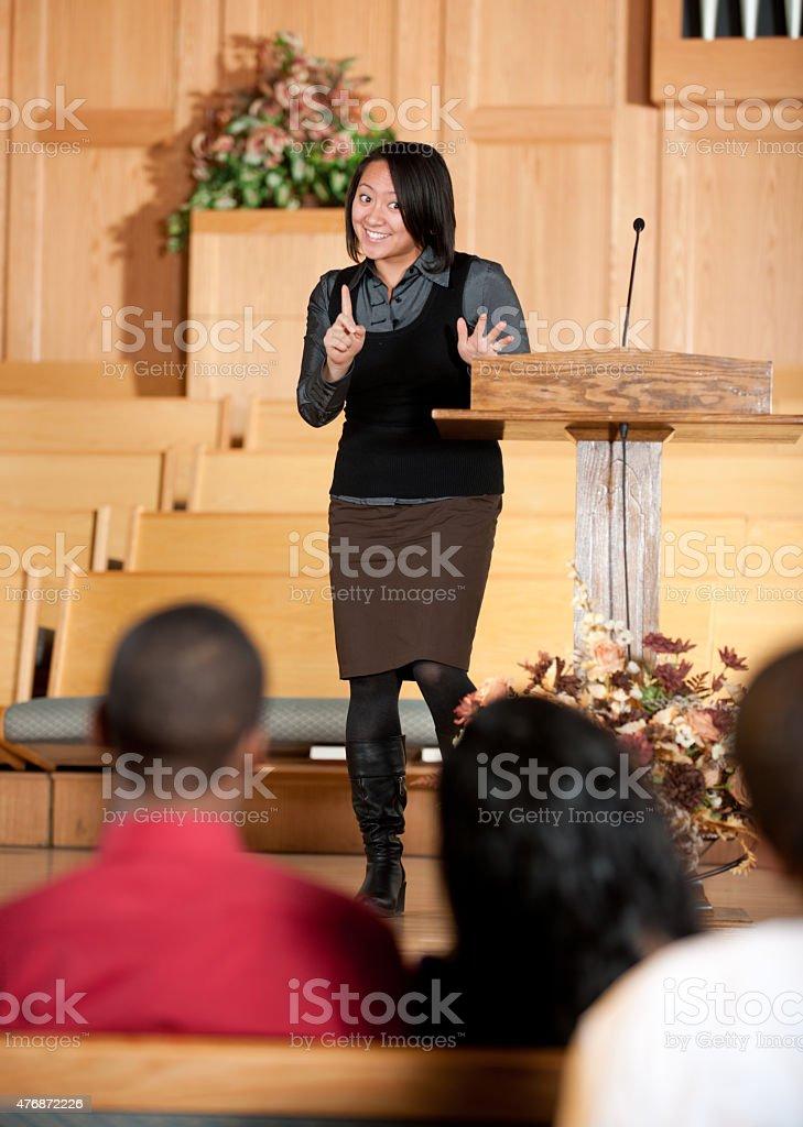 Female Preacher stock photo
