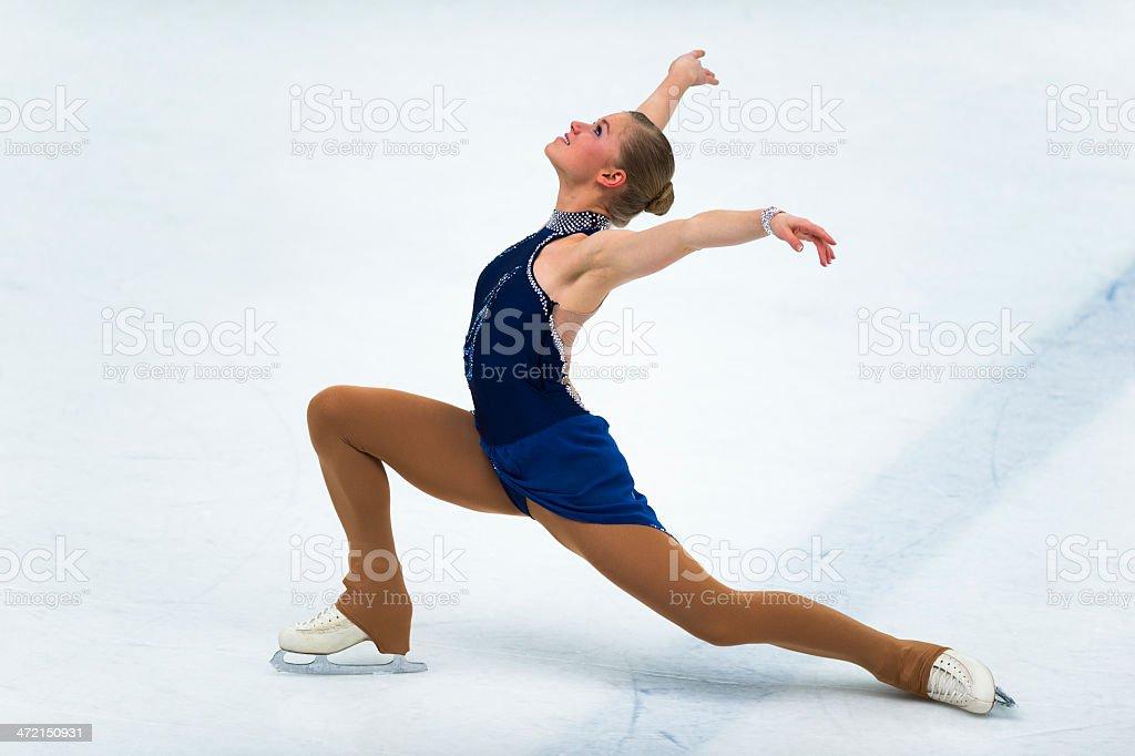 Female Professional Skater Performing Long Program stock photo