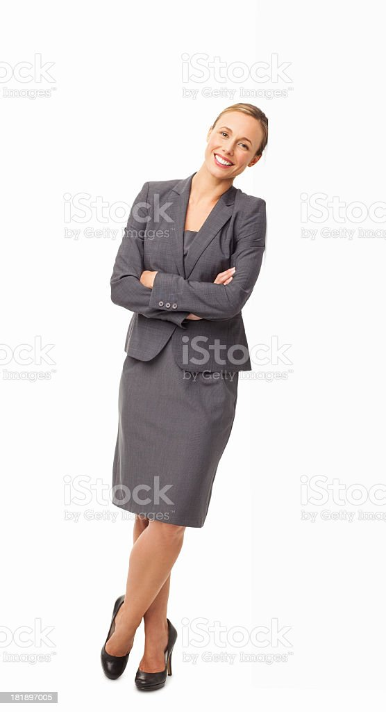 Female Professional Standing Hands Folded - Isolated royalty-free stock photo