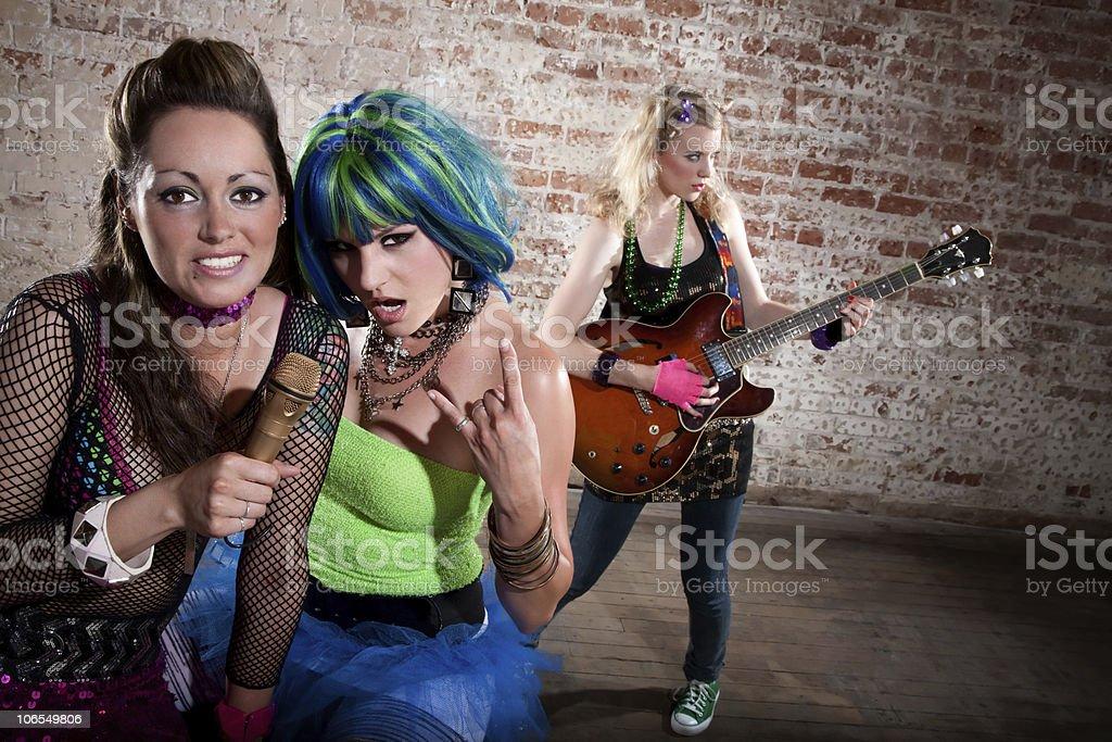 Female punk rock band stock photo