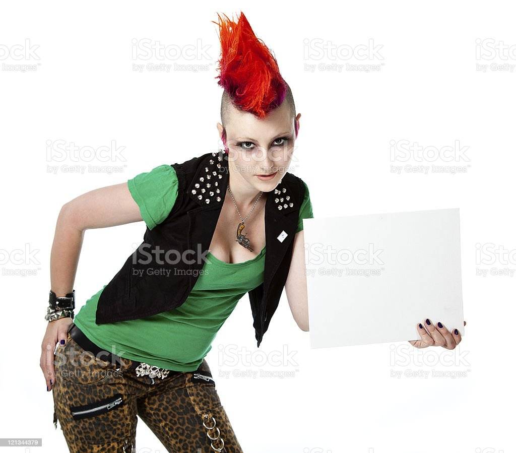 Female Punk with Red Mohican Holding White Board stock photo