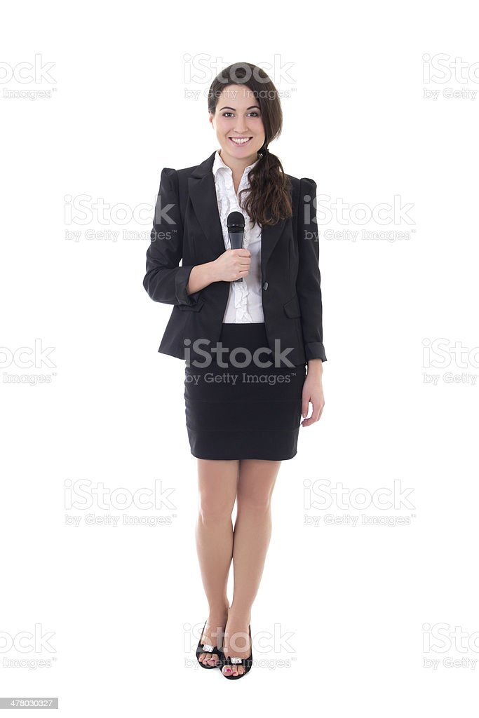 female reporter with microphone isolated on white stock photo
