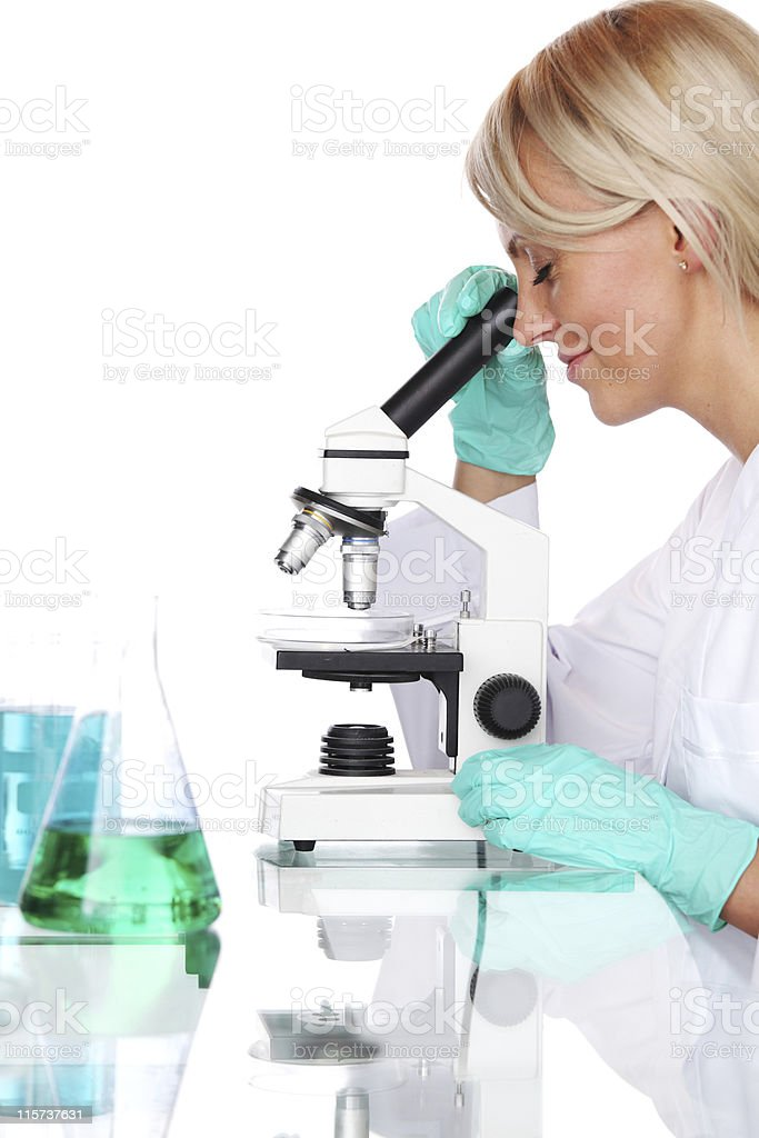 Female researcher looking into a microscope royalty-free stock photo