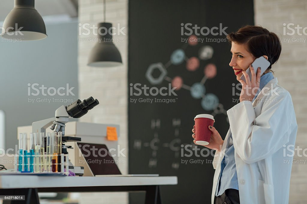 Female Researcher Working In Her Lab. stock photo