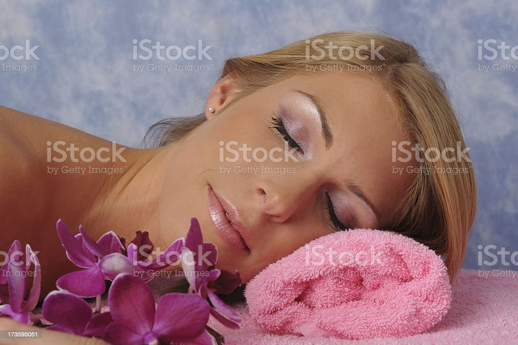 Female resting after massage royalty-free stock photo
