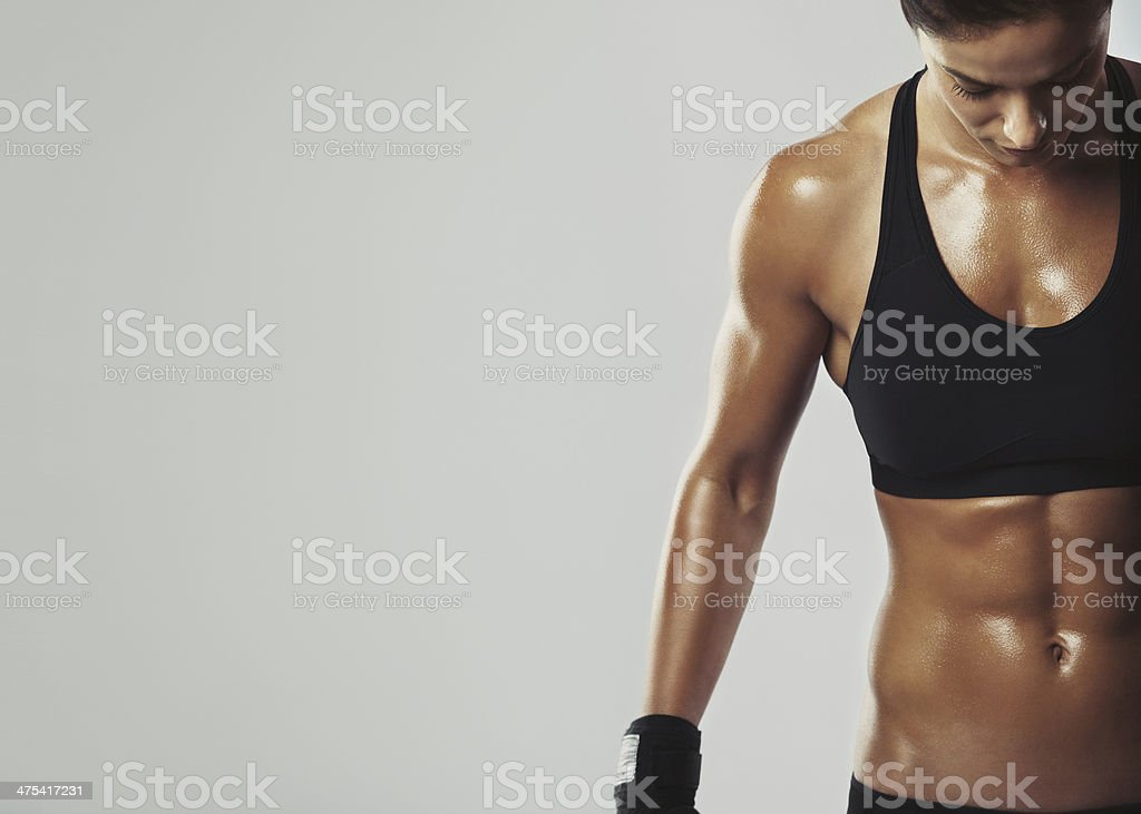 Female resting with intense workout stock photo