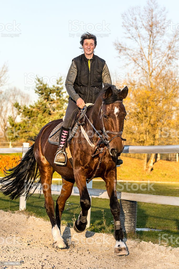 Female rider and horse late afternoon stock photo