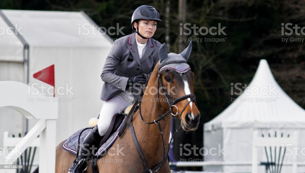 Female rider jumping an obstacle on chestnut horse stock photo