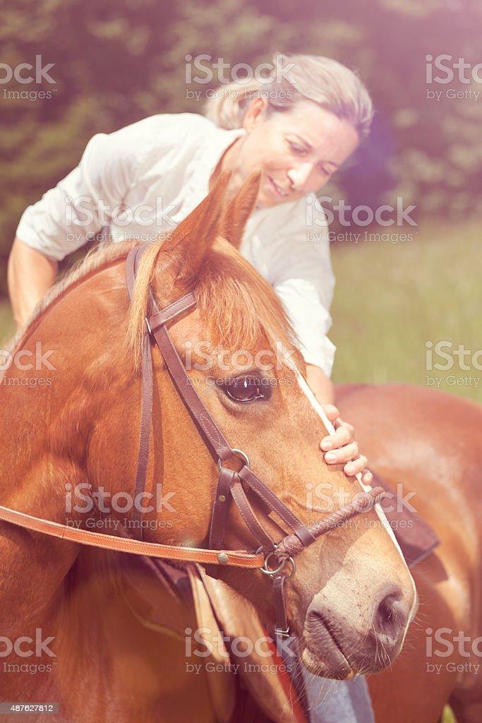 female rider stroking horse, bright stock photo