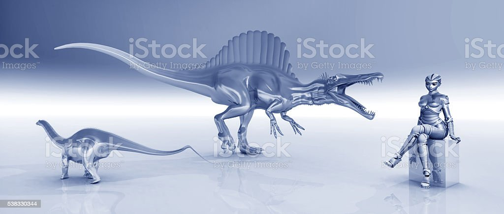 Female robot and sculptures of dinosaurs stock photo