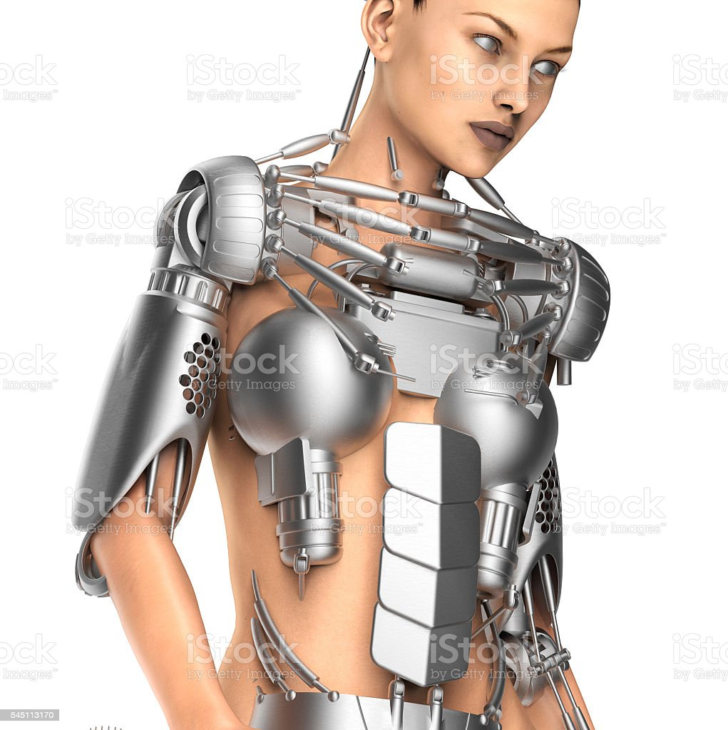 female robot isolated on white stock photo