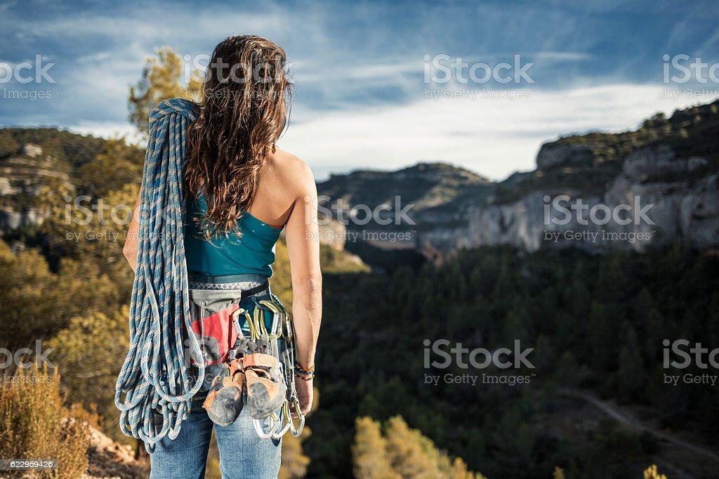 Female rock climber in Margalef Catalonia Spain stock photo