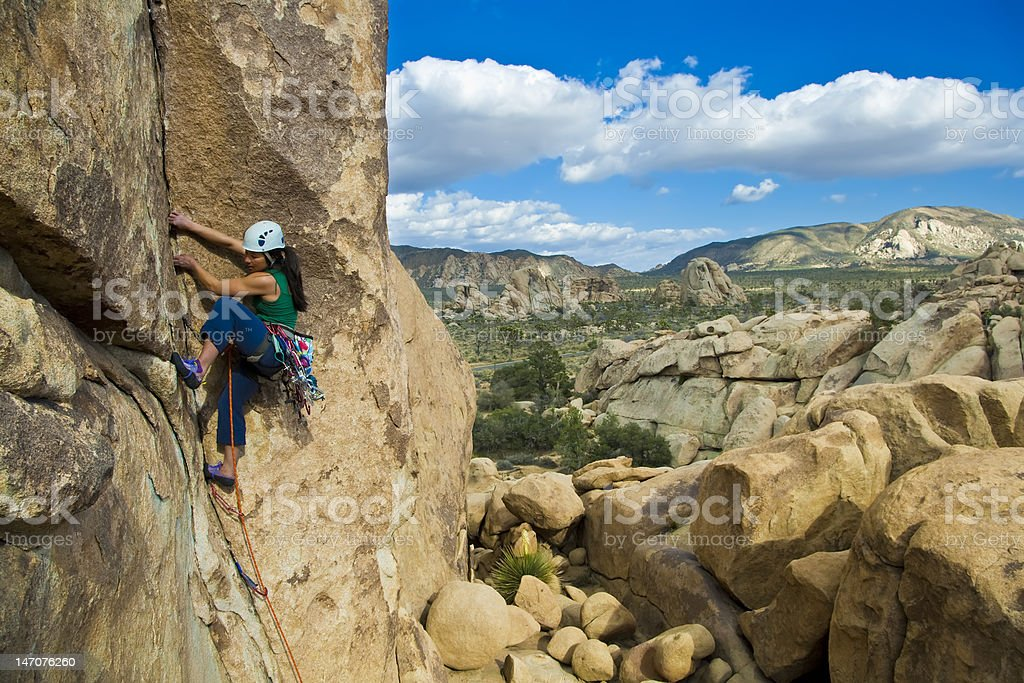 Female rock climber. stock photo