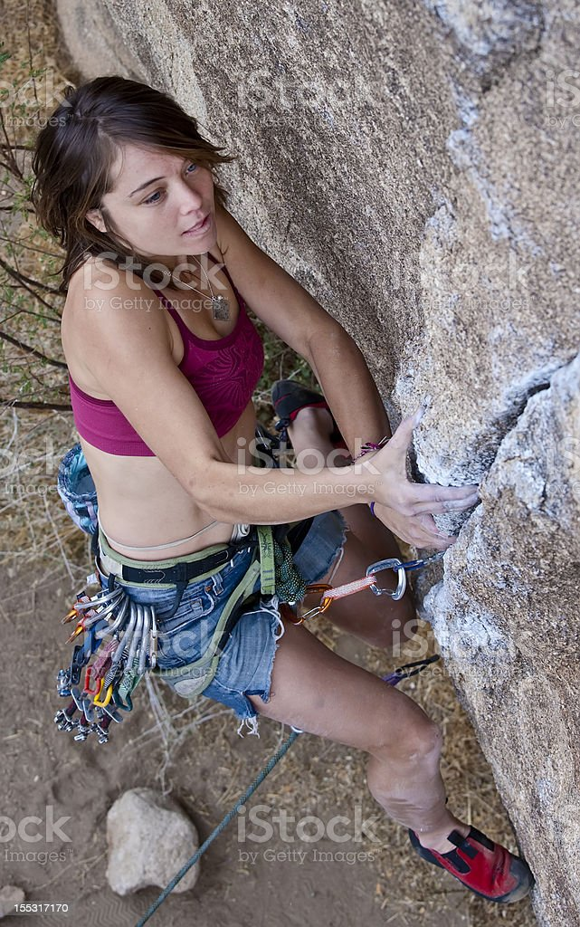 Female rock climber. stock photo