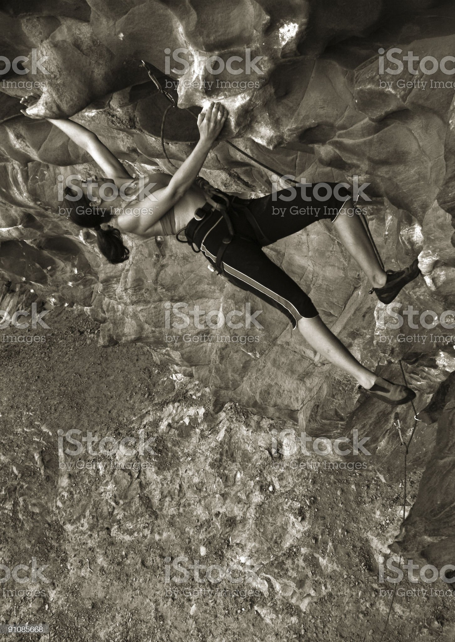Female rockclimber on a big overhang royalty-free stock photo